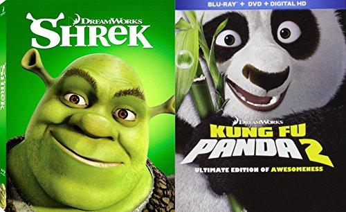 Kung Fu Panda 2 (Blu-ray/DVD/DHD Combo) & Shrek (Icons Edition) 2 (Blu-ray/DVD/DHD Combo) 2-Blu-ray Animated Family Fun Bundle Set