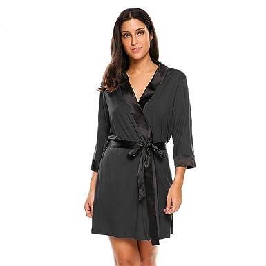 db6c1779cc Women 3 4 Sleeve Short Kimono Bathrobe Spa Robe Sleepwear wear Night Black L