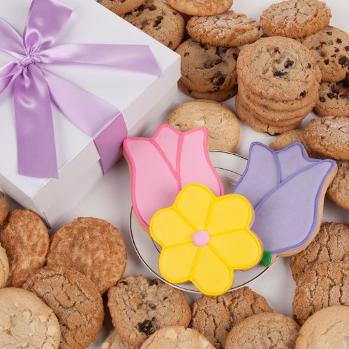 Tulips and Daisy Signature Cookie Gift Box- 12 Pc. by Lady Fortunes