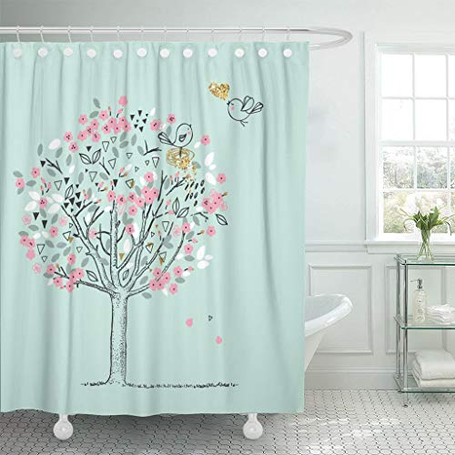 Emvency Fabric Shower Curtain with Hooks Cute Blooming Tree and Birds Love Doodle Baby Heart Chic Floral Flower 60