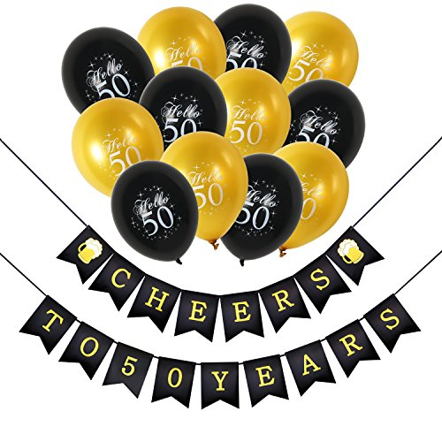 (Konsait 50th Birthday Party Decorations Kit, Cheers to 50th Birthday Banner for Her Him, Celebration 50th Birthday Latex Balloons Gold and Black for 50 Years Old Party Decoration Supplies)