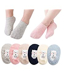6 Pairs No Show Socks Low Cut Cotton Socks Non-skid Floor Crew Boat Sock