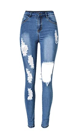 Angcoco Women's Stylish Ripped Holes Destroyed Skinny Jean Pants