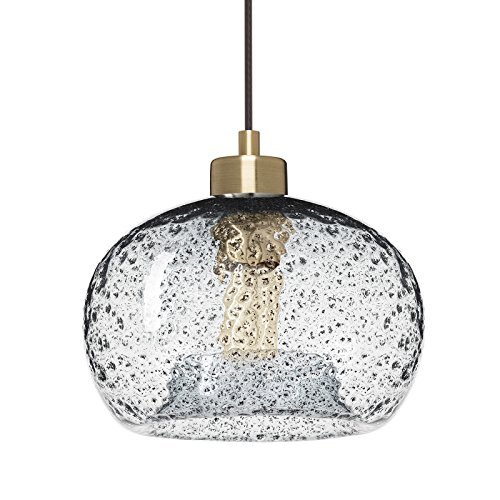Casamotion Pendant Lighting Handblown Glass Drop ceiling lights, Rustic Hanging Light Clear Seeded Glass with black sand powder, Brushed Brass Finish Drop Pendant Lighting