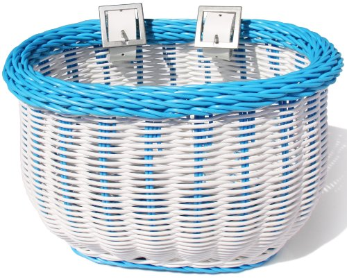Colorbasket 01280 Kid's Front Handlebar Bike Basket, All Weather, Water Resistant, Adjustable Leather Straps, Food-Contact Safe, White with Blue Trim -