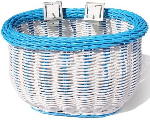 Colorbasket 01280 Front Handle Bar Kids Bike Basket, Water Resistant, Leather Straps,White with Blue Trim