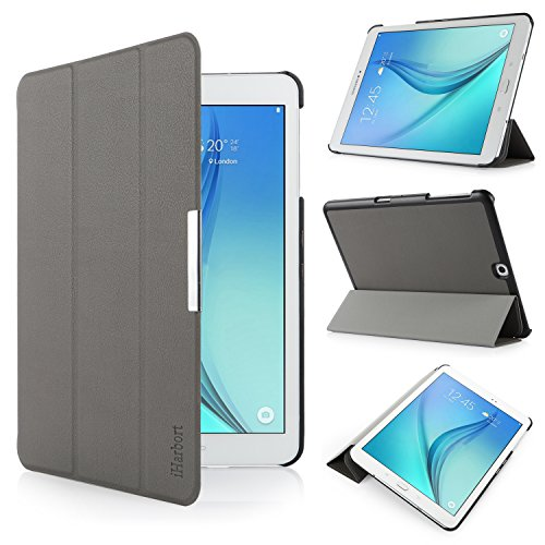 iHarbort Samsung Galaxy Tab S2 9.7 Case Cover (SM-T810 T813 T815 T819) - Ultra Slim Lightweight Smart-case Holder Stand Leather Case, With Smart Auto Wake / Sleep function, Grey by iHarbort