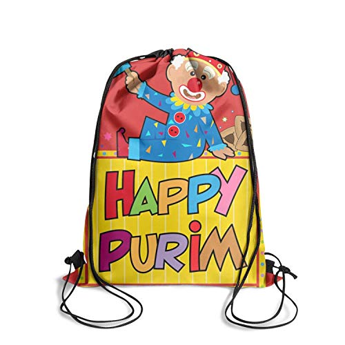 - Happy Purim Clown Purim Clip Art vintage sinch sack string drawstring backpack bag