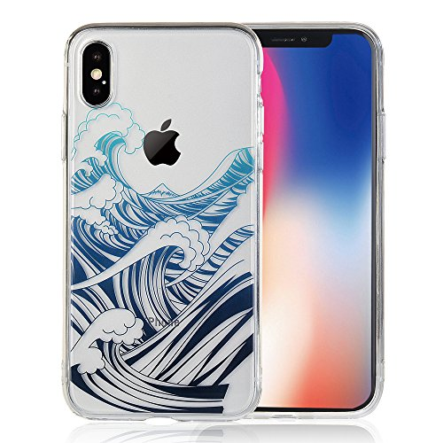 COSANO iPhone X Case Premium Quality Blue sea Wave Nature Beach Pattern [Hard PC Back + Soft TPU Bumper] [Ultra Thin] Crystal Clear with Design for Apple New iPhone 10 5.8(2017) (wavez X)