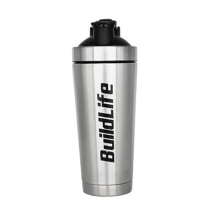 Nutrition - Botella de agua de acero inoxidable con aislante para batidora de proteínas con bola
