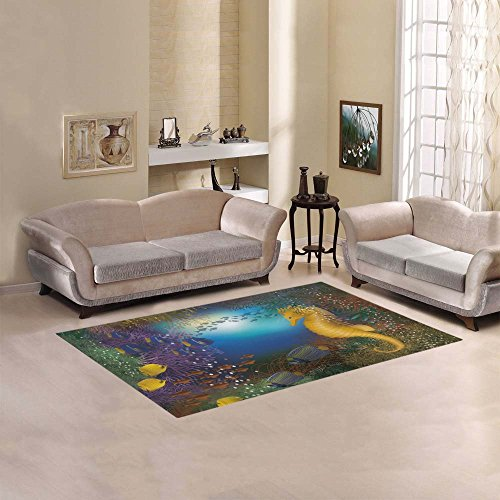 "Cheap Artsadd Seahorse And Fish Area Rug Carpet 5'x3'3"" Floor Rug for Living Room Bedroom"