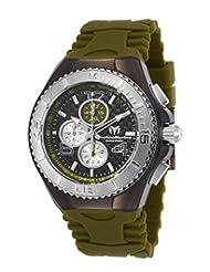 TechnoMarine Men's TechnoMarine Green Silicone Band Steel Case Quartz Black Dial Analog Watch 115298