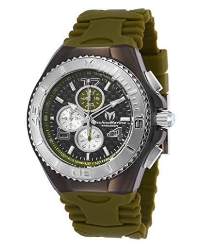 Technomarine Men's 'Cruise Jellyfish' Quartz Stainless Steel and Silicone Casual Watch, Color:Green (Model: TM-115298)