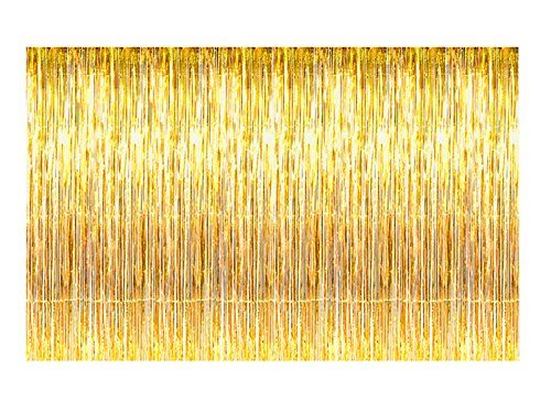 Metallic Gold Foil Fringe Curtains 12 ft X 8 ft. Door Window Curtain Party Decoration (12′ x 8′, Gold)
