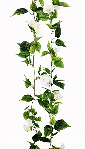 2PCS(13FT) Fake Morningglory Vine Garland Artificial Flowers plants for Hotel Wedding Home Party Garden Craft Art Decor White