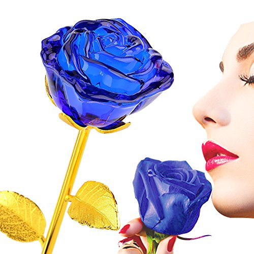 Glass Rose Flower, 24K Gold Plated Long Stem Artificial Blue Rose Flower Anniversary Birthday Valentines Gift for (Blue Roses Flowers)