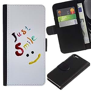 Planetar® Modelo colorido cuero carpeta tirón caso cubierta piel Holster Funda protección Para Apple (4.7 inches!!!) iPhone 6 ( Just Smile Be Happy )