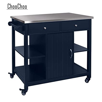 Choochoo Kitchen Islands On Wheels With Stainless Steel Wood Top Utility Wood Kitchen Cart With Storage And Drawers Easy Assembly Navy Blue