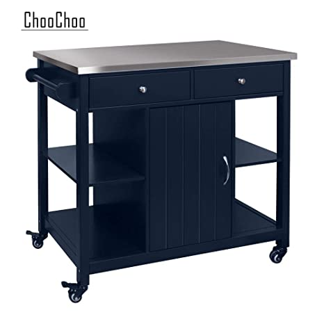 ChooChoo Kitchen Islands on Wheels with Stainless Steel, Wood Top, Utility  Wood Kitchen Cart with Storage and Drawers, Easy Assembly (Navy Blue ...