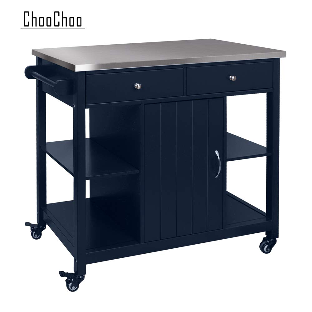 ChooChoo Kitchen Islands on Wheels with Stainless Steel, Wood Top, Utility Wood Kitchen Cart with Storage and Drawers, Easy Assembly (Navy Blue Stainless Steel Top)