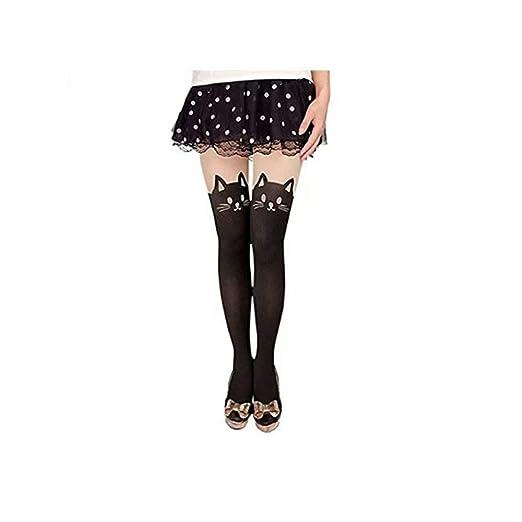 5941cad230f MACHEE Women s Cat Tail Hosiery Pantyhose Tattoo Legging Tights ...