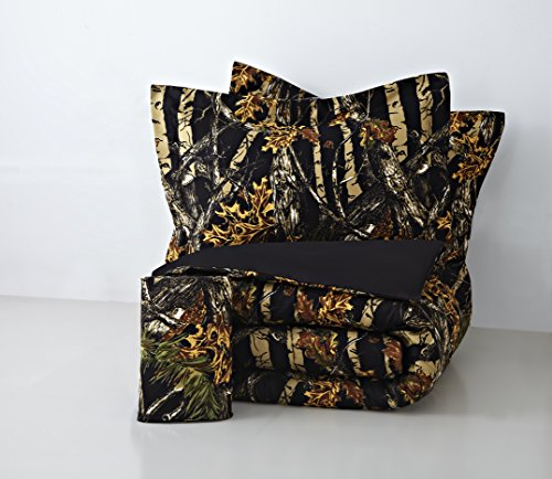 Rustic Blend - Regal Comfort The Woods Black Camouflage Queen 4 Piece Premium Luxury Comforter, Bed Skirt, and 2 Pillow Shams Set - Camo Bedding Set For Hunters Cabin or Rustic Lodge Teens Boys and Girls