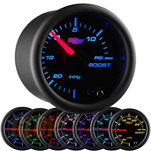GlowShift Black 7 Color 15 PSI Turbo Boost/Vacuum Gauge Kit - Includes Mechanical Hose & T-Fitting - Black Dial - Clear Lens - for Cars - 2-1/16