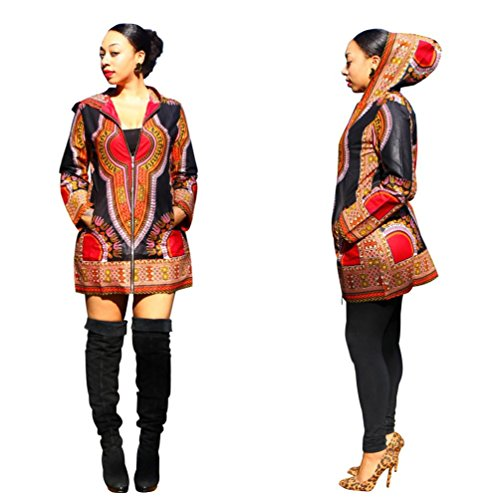 AMA(TM) Women Hooded African Print Casual Coat Long Sleeve Mini Dress (XL, Black)