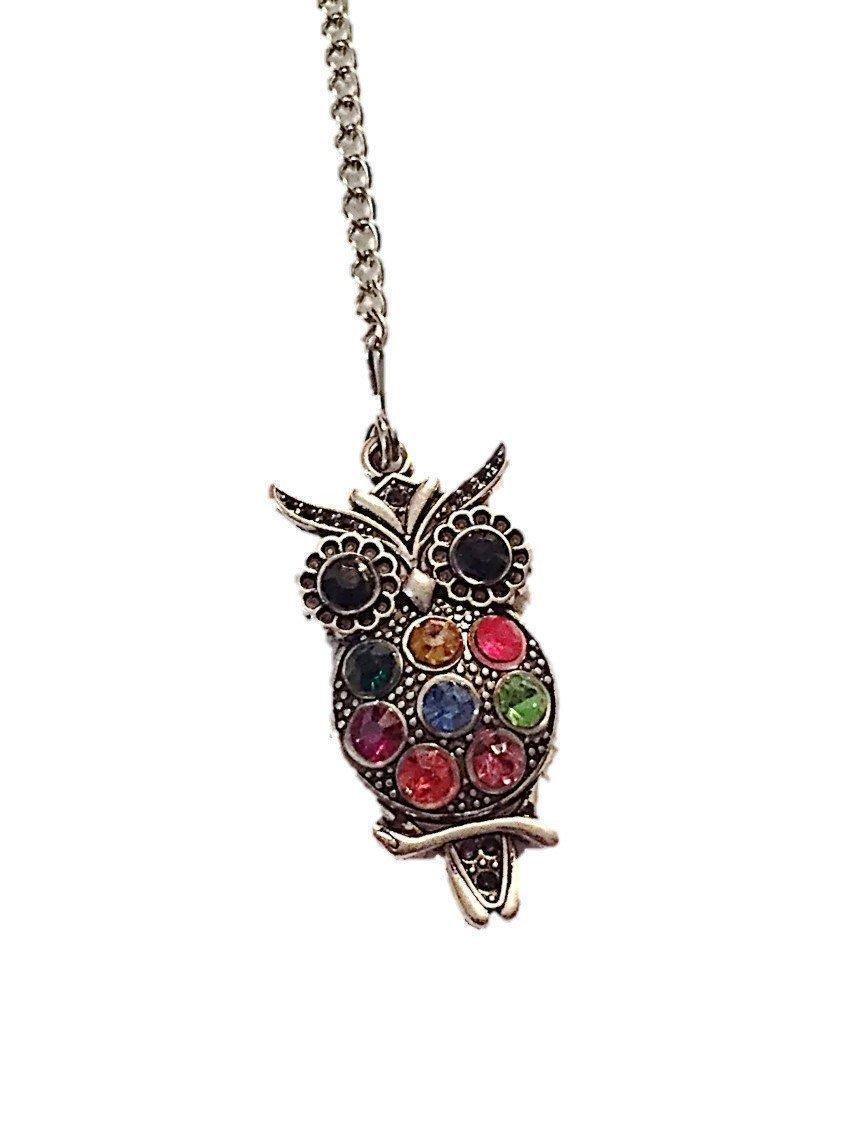 Tea Infuser Ball with Colorful Rhinestone Owl Weight Handmade Loose Tea Strainer