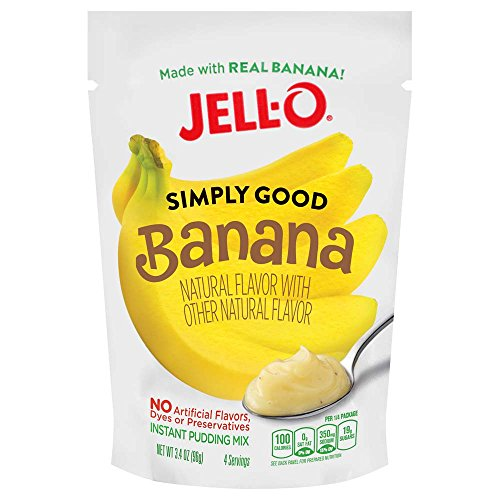Jell O Simply Good Banana Instant Pudding Mix 3 4 Ounce Bag  Pack Of 12