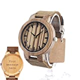 Custom Personalized Engraved Hand Made Wooden Watches For Men Fashion Casual Watch Leather Strap Gift