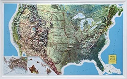 us raised relief topographical map 3d rand mcnally