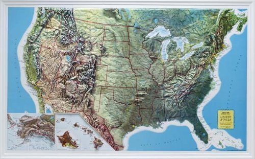 Amazoncom US Raised Relief Topographical Map D Rand - Elevation map of us