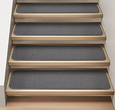 Set of 12 Attachable Indoor Carpet Stair Treads - Gray - Several Other Sizes to Choose From