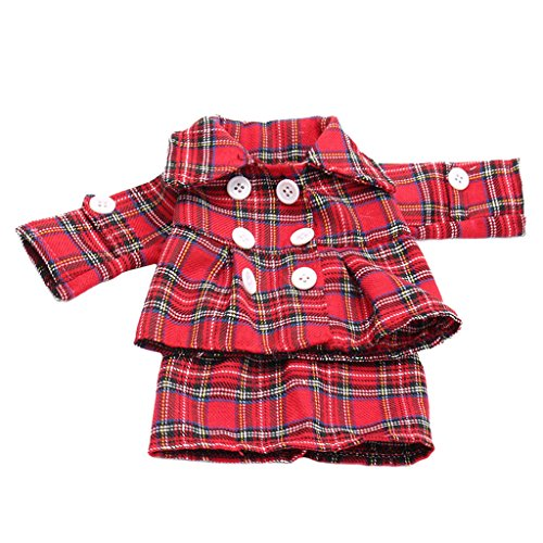 MagiDeal Outfit 2pcs Red Grid Button Jacket Coat Skirt Set for 18'' American Girl Zapf Baby Born Journey Dolls Dress (Baby Doll Jacket)
