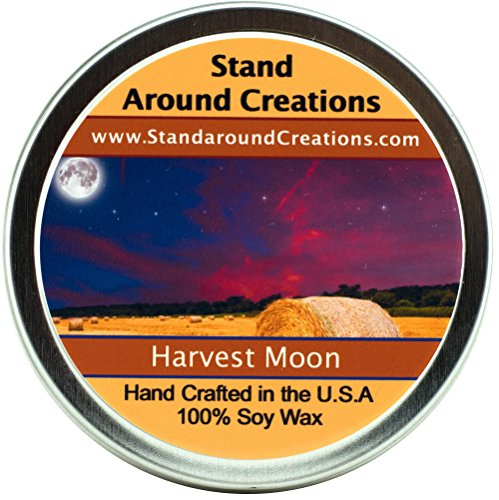 (Premium 100% Soy Candle - 4 oz Tin- Harvest Moon - A fragrance beginning with top notes of fresh pear, blueberries, and pineapple; followed by middle notes of juniper berries and eucalyptus; and well rounded with base notes of spruce, woods, Douglas fir, cedar, and white musk.)