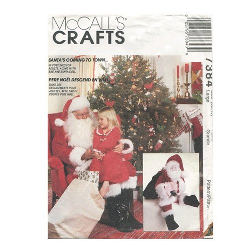 McCalls 7384 Santa Claus Costume Bag Doll Sewing Pattern Size Large (Misses Claus Costume)