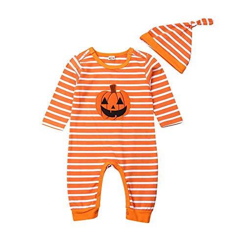 Newborn Baby Girl Boy Halloween Clothes Striped Pumpkin Romper Jumpsuit Tutu Skirt Sister Brother Matching Outfits Set (6-12 Months,Little Brother Romper+hat)