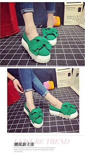 Maybest Womens Casual Papillon Slip On Comfort Tacco Medio Mocassini Pompe Mocassini Scarpe Da Ginnastica Sneakers Zeppe Verde