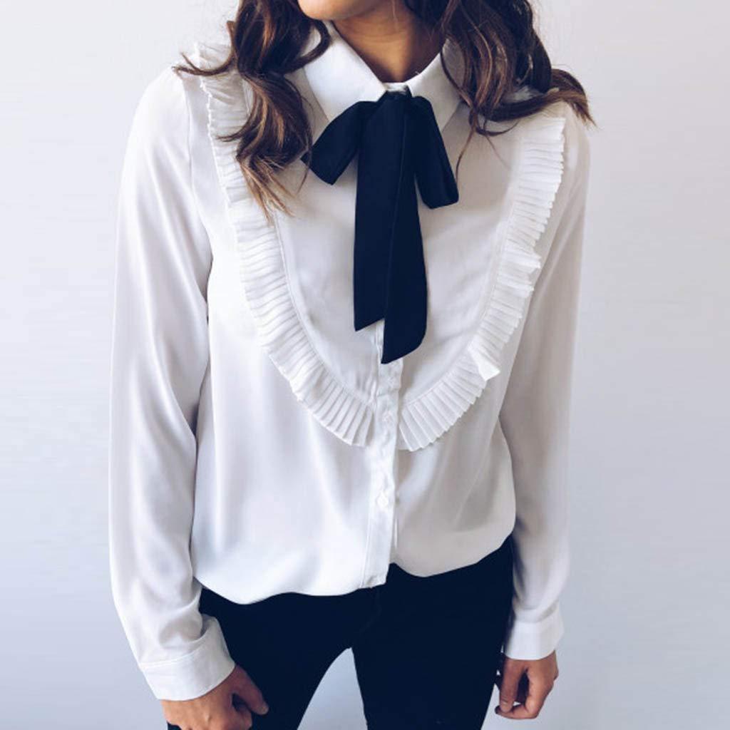 Iqka Women Teen Girls Formal Dress Shirts Casual Chiffon Ruffle
