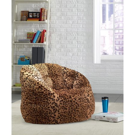 Urban Shop Cocoon Plush Faux Fur Fabrication Adult Size Structured Shape for Support Bean Bag Chair, Multiple Colors - Cheetah