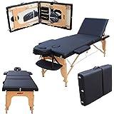 H-ROOT, 3 sezioni, con confezione leggera e portatile, Tavolo da massaggio base divano letto terapia Tatoo Salon Reiki Healing svedese, 15 kg, con massaggio (Nero)