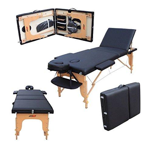 H-Root große Deluxe 3 Abschnitt leichte tragbare Massage Tisch Couch Bett Sockel Therapie Tatoo Salon Reiki Heilung schwedische Massage 15KG (schwarz) mit kostenlose Tragetasche