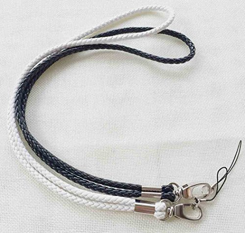 Handmade Braided Lanyards PU Leather Necklace Premium Quality Neck Lanyards keychain For Camera  Cell Phone ID Badge Holder –2 Pack (White/Black)
