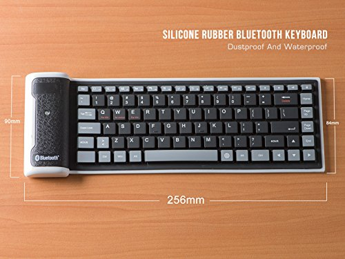 LinDon-Tech Super Mini Portable Keyboard Flexible Wireless Keyboard Silicone Roll-up Bluetooth Keyboard for Tablet, Smartphone, Laptop, Built-in Rechargeable Lithium Battery (Black) ()