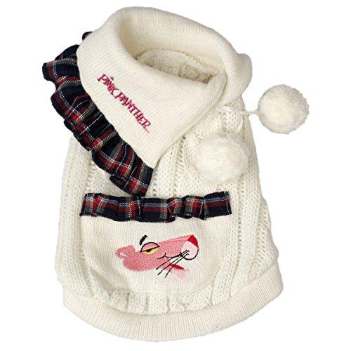 Pink Panther Wolle Pet Pullover mit Tasche und Ponpons weiß/Karo Stoff