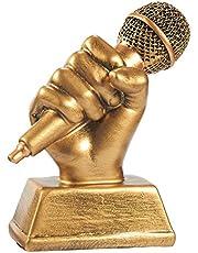 Juvale Gouden Microfoontrofee - Kleine Hars Zingende Award Trofee Karaoke, Zingende Wedstrijden, Partijen, 5,5 x 4,75 x 2,25 inch