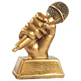 Juvale Golden Microphone Trophy - Small Resin Singing Award Trophy for Karaoke, Singing Competitions, Parties, 5.5 x 4.75 x 2.25 Inches