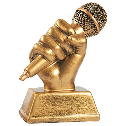 Resin Award Plaque (Golden Microphone Trophy - Small Resin Singing Award Trophy for Karaoke, Singing Competitions, Parties, 5.5 x 4.75 x 2.25 Inches)