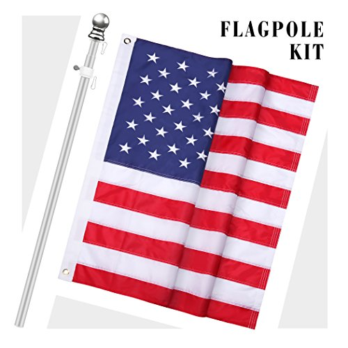 Becko 5 ft Heavy Duty Aluminum Alloy Telescopic Adjustable Anti-winding Flag Pole - With An 3x5ft Embroidered American Flag (Flag American Kit)